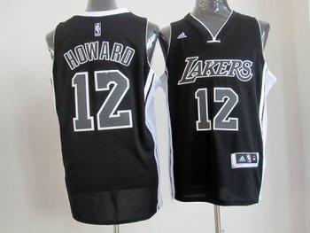 NBA Los Angeles Lakers #12 Dwight Howard Fullblack(Revolution 30 Swingman)