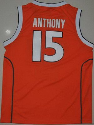 orange #15 carmelo anthnoy orange basketball embroidered ncaa jersey