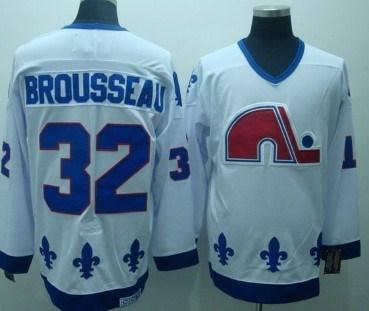 quebec nordiques #32 brousseau white ccm throwback jersey