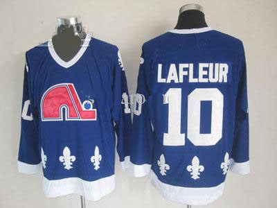 quebec nordiques hockey jerseys #10 lafleur blue jersey