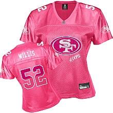 NFL san francisco 49ers 52# patrick willis women's pink fem fan jersey