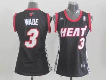 women Miami Heat 3 Dwyane Wade black jersey