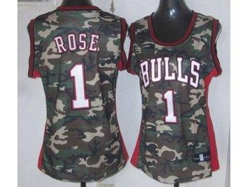 women nba chicago bulls #1 rose camo