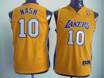 Youth NBA Los Angeles Lakers #10 Unveil Steve Nash Yellow